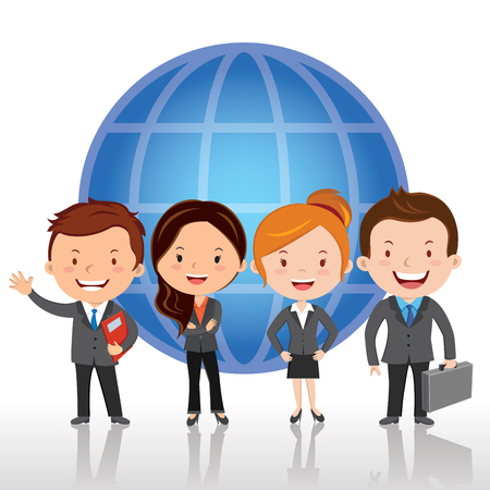 Global virtual team. Vector illustration of Global business team standing in a row against global background. Illustration