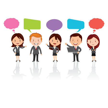 financial adviser: Social Media. Group of International business people with chat or thinking bubbles. Illustration