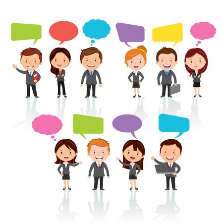 Social Media .Group of International business people with chat or thinking bubbles.