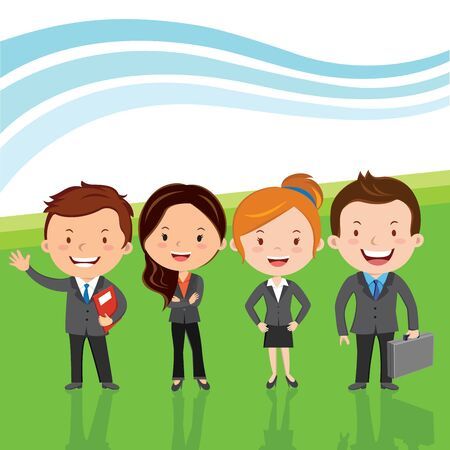 Successful business team. Vector illustration of Young attractive business team or Leadership team happy standing in line. Showing Successful background. Illustration