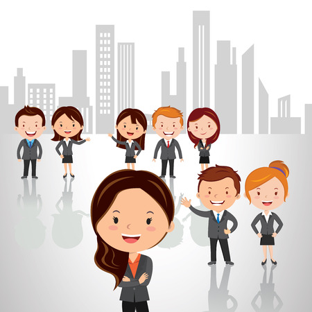 Business strategy and success team. Vector illustrations of a Group of successful people standing against high rise building background with confidence look. Illustration