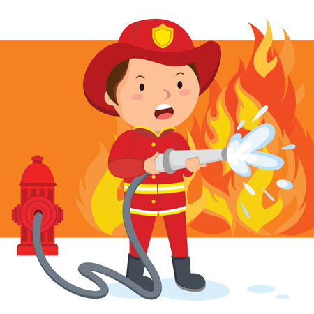 Bombero. Un bombero rociando una manguera de agua para apagar el fuego. Ilustración de vector