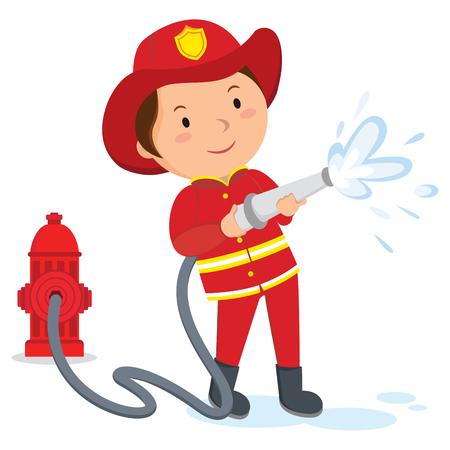Fireman. A fireman spraying a water hose.