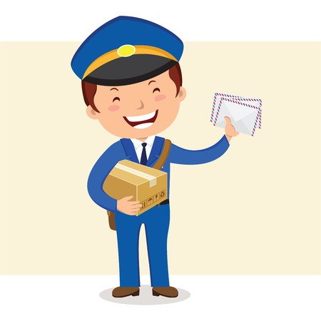 postcard box: Cheerful postman. Friendly postman in blue uniform with bag and letters.