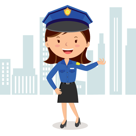 policewoman: Cheerful policewoman. Vector illustration of a policewoman on duty.