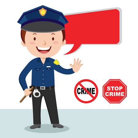 penalty: Policeman, stop crime. Vector illustration of a cheerful policeman with stop crime sign.