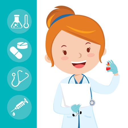 Beautiful medical doctor. A female medical doctor or general practitioner holding blood test tube with medical icons background. Çizim