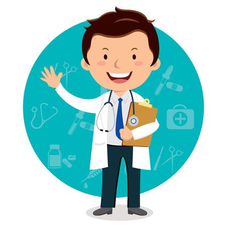 Alegre médico masculino haciendo gestos. Ilustración vectorial de un médico con el portapapeles y los iconos médicos de fondo.