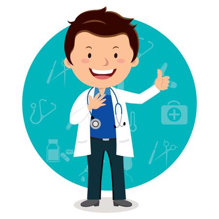 쾌활 한 남성 의사입니다. 의료 아이콘 배경 가진 웃는 의사의 벡터 일러스트 레이 션.