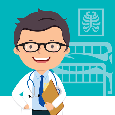 Confident medical doctor. A male doctor with medical report. Illustration