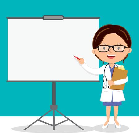 general practitioner: Female doctor on presentation. Doctor with clipboard giving medical presentation. Illustration