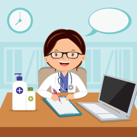 general practitioner: Female general practitioner. Vector illustration of a smiling doctor or family practitioner.