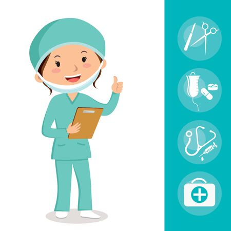 Female surgeon. Cheerful surgeon with medical icons. Illustration