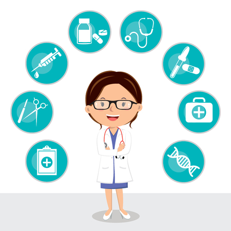 Confident female doctor with folded arms. Vector illustration of medical icon set.