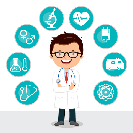 Confident male doctor with folded arms. Vector illustration of medical icon set.