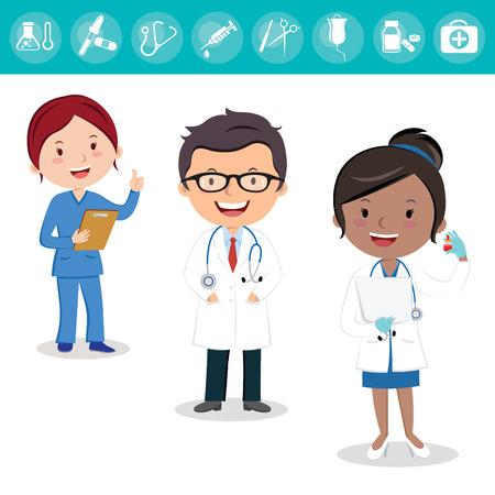 건강 관리 팀. 의사와 간호사 및 외과 의사의 쾌활 한 의료 팀.