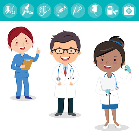 Health care team. Cheerful medical team of doctors and nurses and surgeon. Stock Vector - 83855281