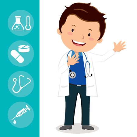 Hi doctor. Vector illustration of a cheerful doctor gesturing with medical icons.