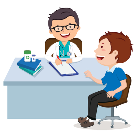 Male doctor consultation. Medical Consultation between doctor and her patient at desk. Vectores