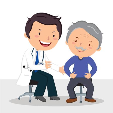 Männlicher Arzt untersucht Patienten. Vektor-Illustration eines freundlichen männlichen Arzt Prüfung älterer Mann.