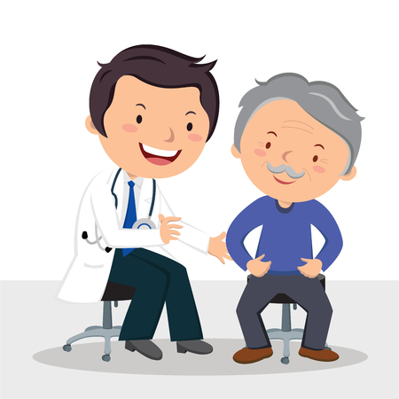 Male doctor examining patient. Vector illustration of a friendly male doctor examining senior man. Stock Illustratie