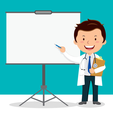 Doctor on presentation. Doctor with clipboard giving medical presentation.  イラスト・ベクター素材