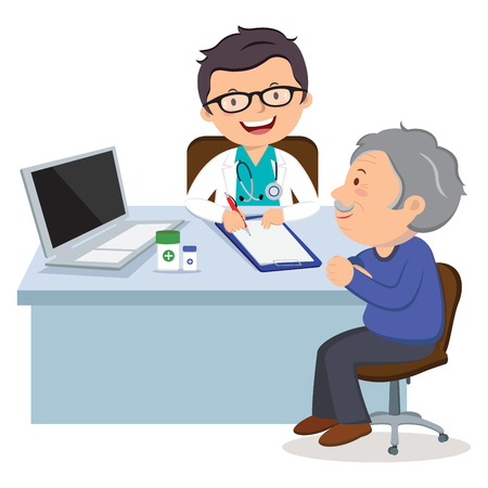 Male doctor with senior man. Medical Consultation between doctor and her patient at desk. Vektorové ilustrace