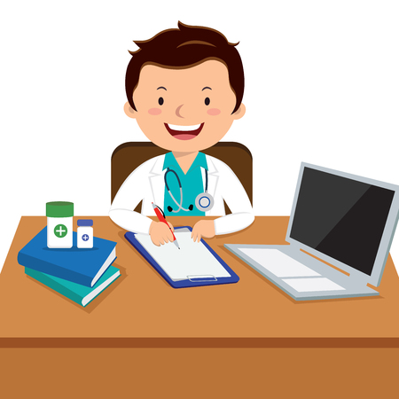 Male general practitioner office. Medical consultation. Illustration