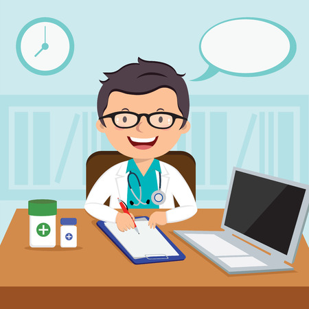 Male general practitioner. Vector illustration of a smiling doctor or family practitioner.