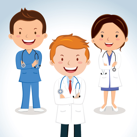 Medical doctors. Vector illustration of senior doctors.