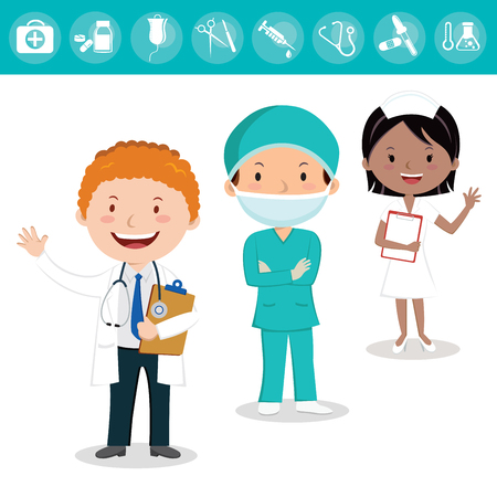 Medical team. Cheerful health care team of doctors and nurses and surgeon. Imagens - 83775184