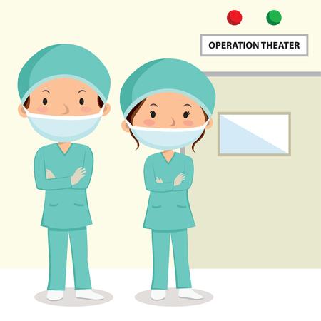 外科医。スクラブ操作劇場外に立って腕を組んでの外科医。