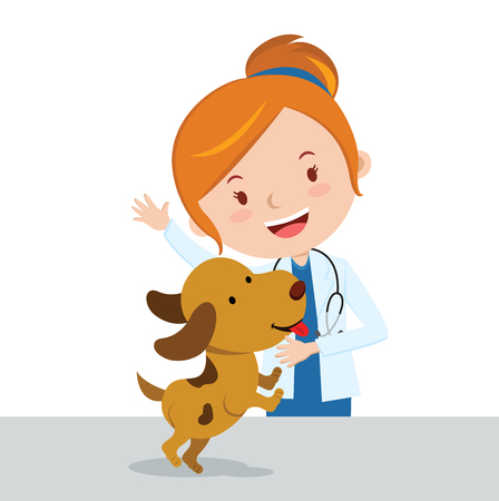 doctor appointment: Veterinarian. Vector illustration of an attractive lady veterinarian with a cute puppy