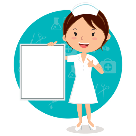 Cheerful nurse with board. Vector illustration of a smiling nurse with medical icons background. Illustration
