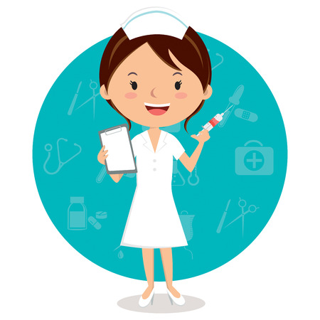 Cheerful nurse with injection syringe. Vector illustration of a smiling nurse with medical icons background. Ilustracja