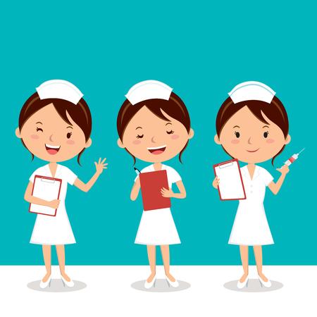 Nurse at work. Vector illustration of cheerful nurse.