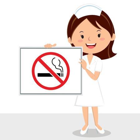 Nurse with non-smoking sign. Vector illustration of a cheerful nurse holding a non smoking sign board.