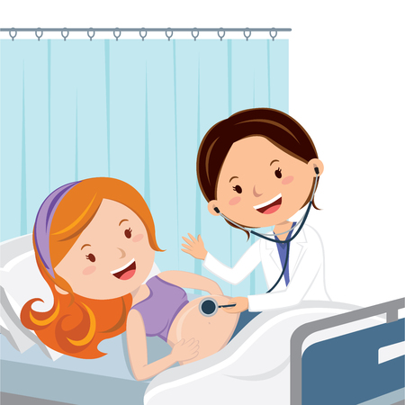 Maternity ward. Doctor examine pregnant woman. Illustration
