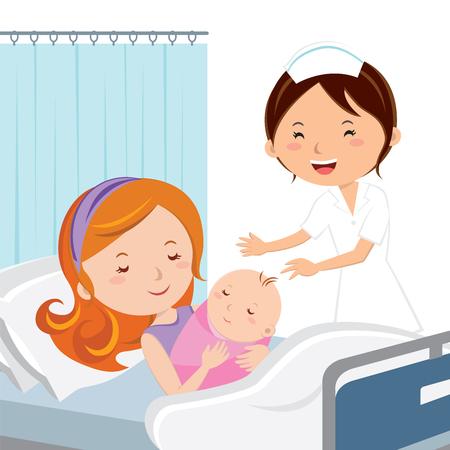 Maternity ward. Mother holding newborn baby.