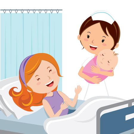 産科病棟。女性看護師保有生まれたての赤ん坊少女。