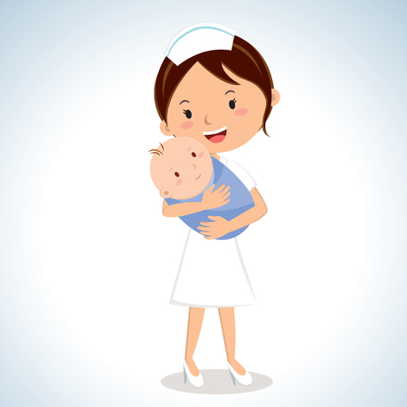Nurse holding baby boy. Vector illustration of a maternal nurse take care of the baby boy. Çizim