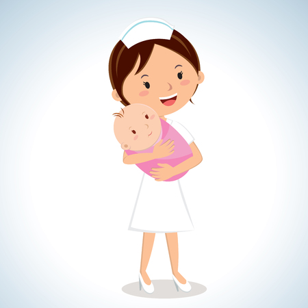 Nurse holding baby girl. Vector illustration of a maternal nurse take care of the baby girl. Ilustracja