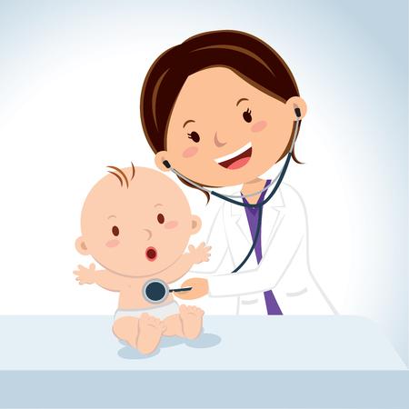 男の子の赤ちゃんを調べる医師を笑っています。小児医師は、聴診器で男の子の赤ちゃんを調べる。