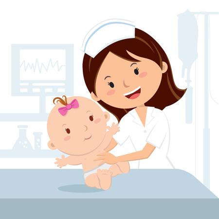 웃는 간호사 및 아기 소녀. 쾌활한 간호사가 병원과에서 아기 소녀를 검사합니다.