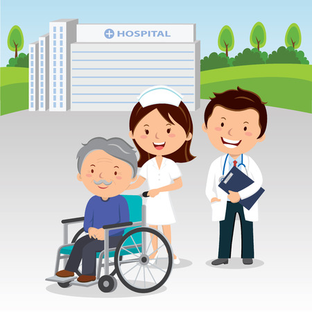 Medical staff and elderly man in wheelchair Illustration