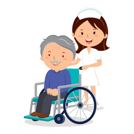 Nurse and elderly man in wheelchair