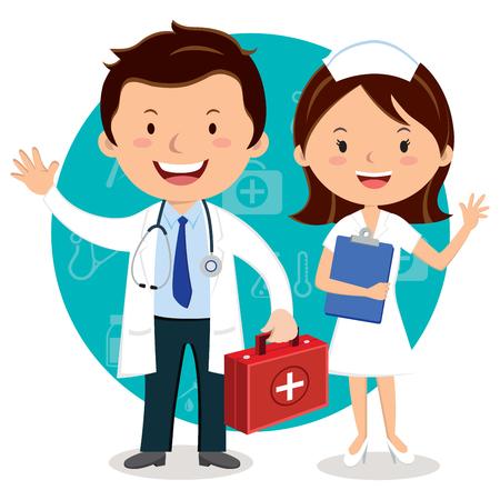 Dokter en verpleegster. Arts met EHBO-doos.
