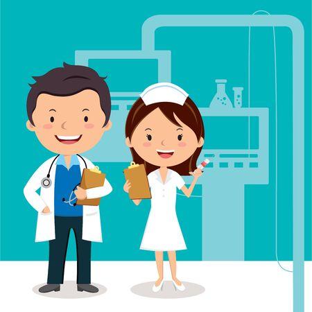 Dottore e infermiera Vector l'illustrazione di un medico e di un'infermiera sorridenti sui precedenti del reparto di ospedale.