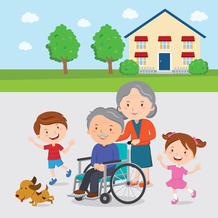 Elderly couple with their grandchildren. Illustration