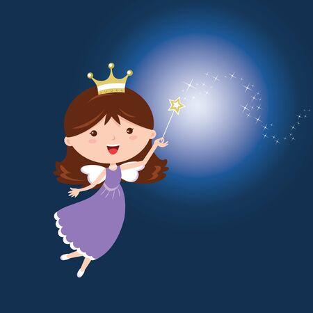 Fairy. Vector illustration of a cute fairy with magic wand.